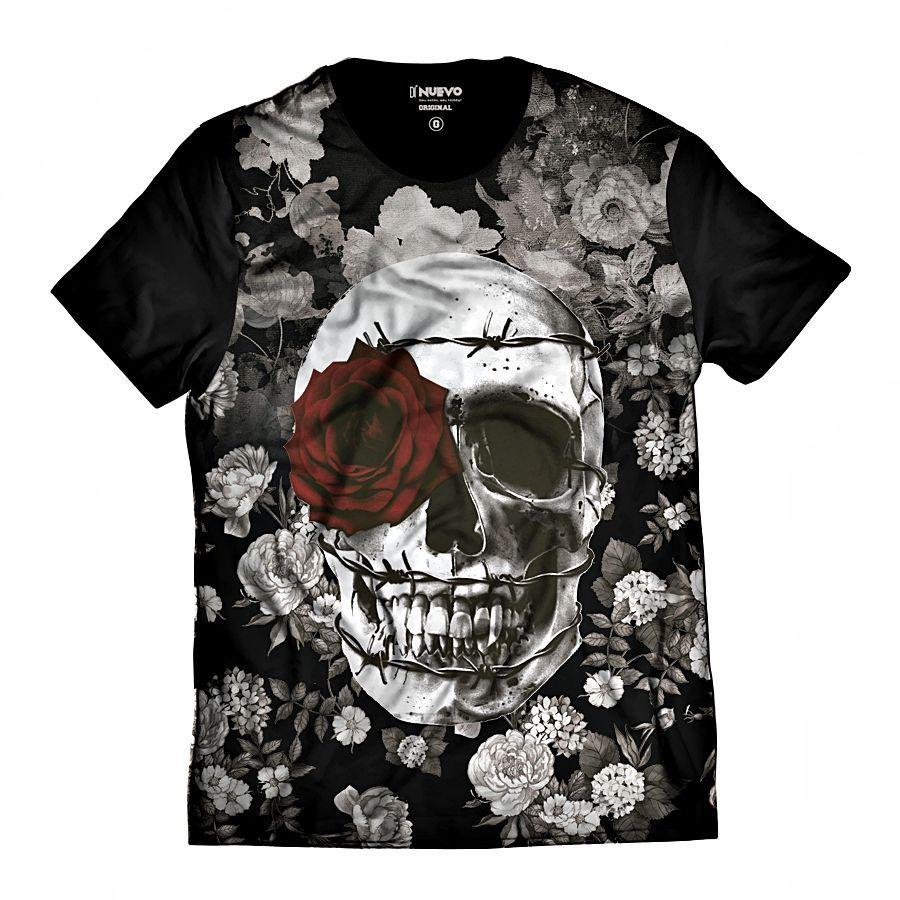 Camiseta Caveira Floral com Coroa de Espinhos e Rosa Vermelha