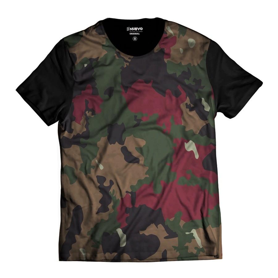Camiseta Estilosa Camuflada Exército Colors Marrom