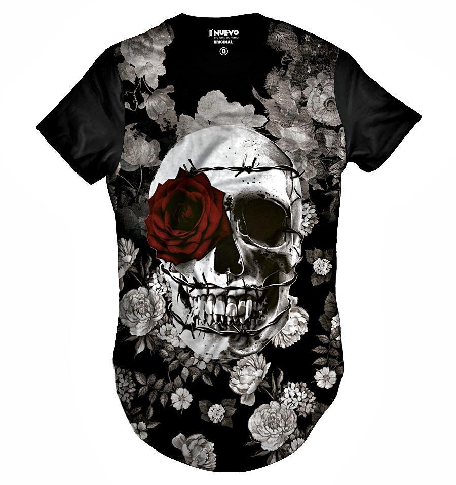 Camiseta Longa Caveira com Coroa de Espinhos e Rosa Vermelha Swag