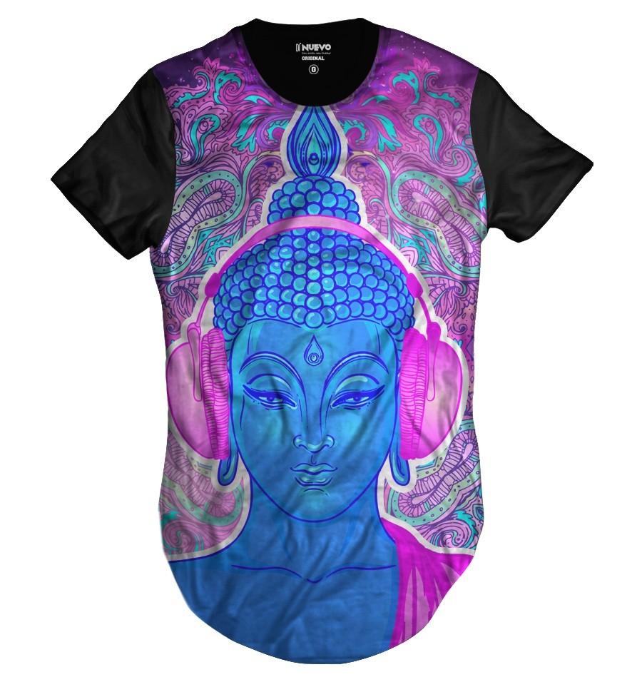 Camiseta Longline Buda Psicodélico Dj Music