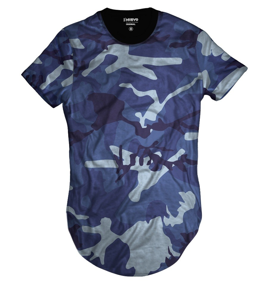 Camiseta Longline Camuflada Azul Exército Basic