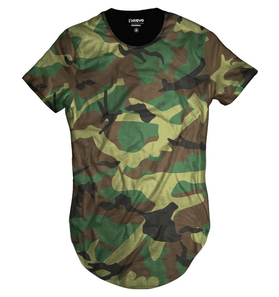 Camiseta Longline Verde Camuflada Brasileira Exército