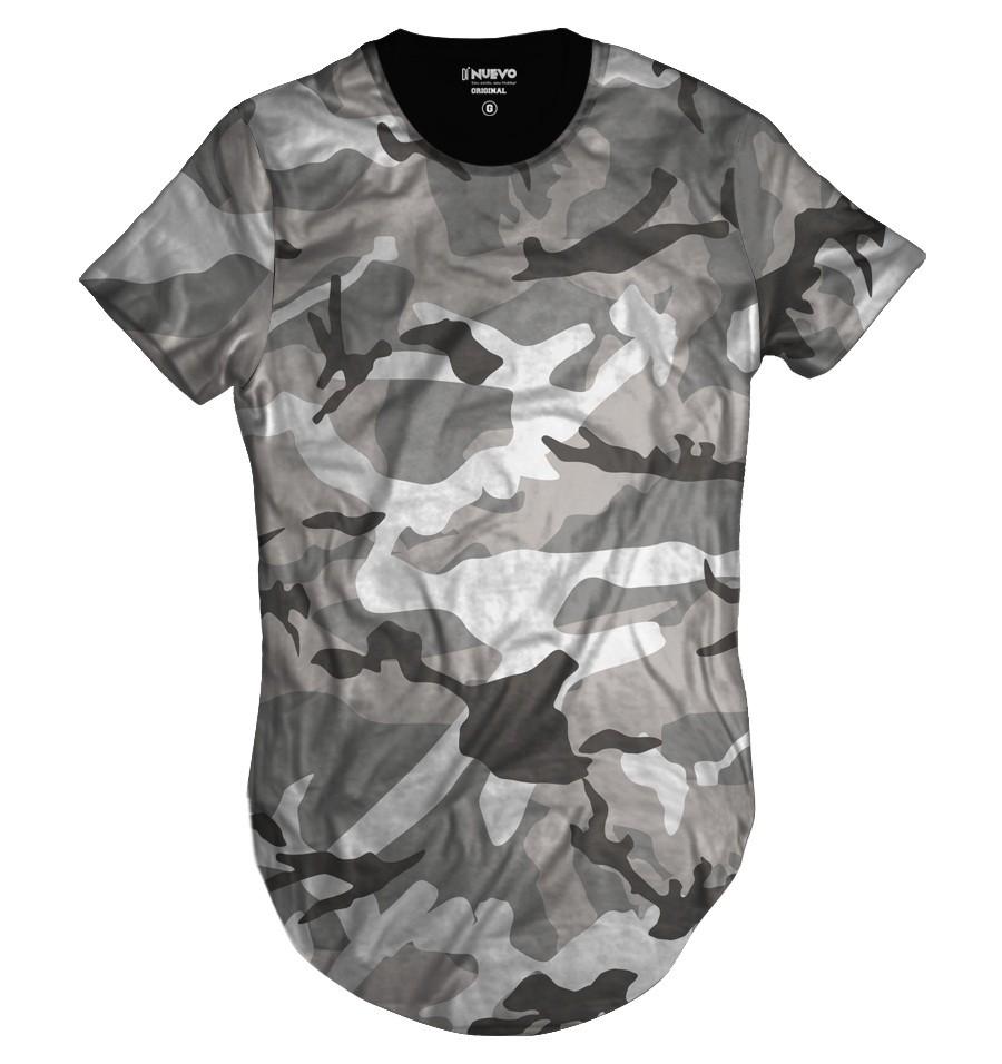 Camiseta Longline Camuflada Cinza Exército Style