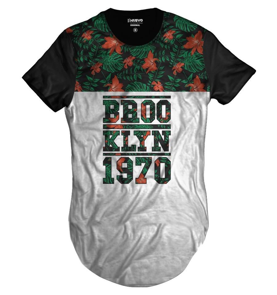 Camiseta Longline Floral Verde Brooklyn 1970 Thug Life