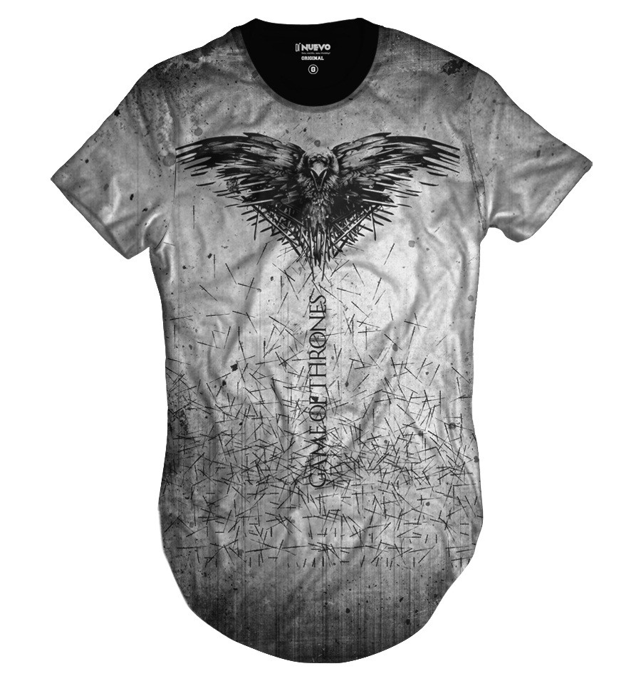 Camiseta Longline GOT Game of Thrones Corvo de Três Olhos
