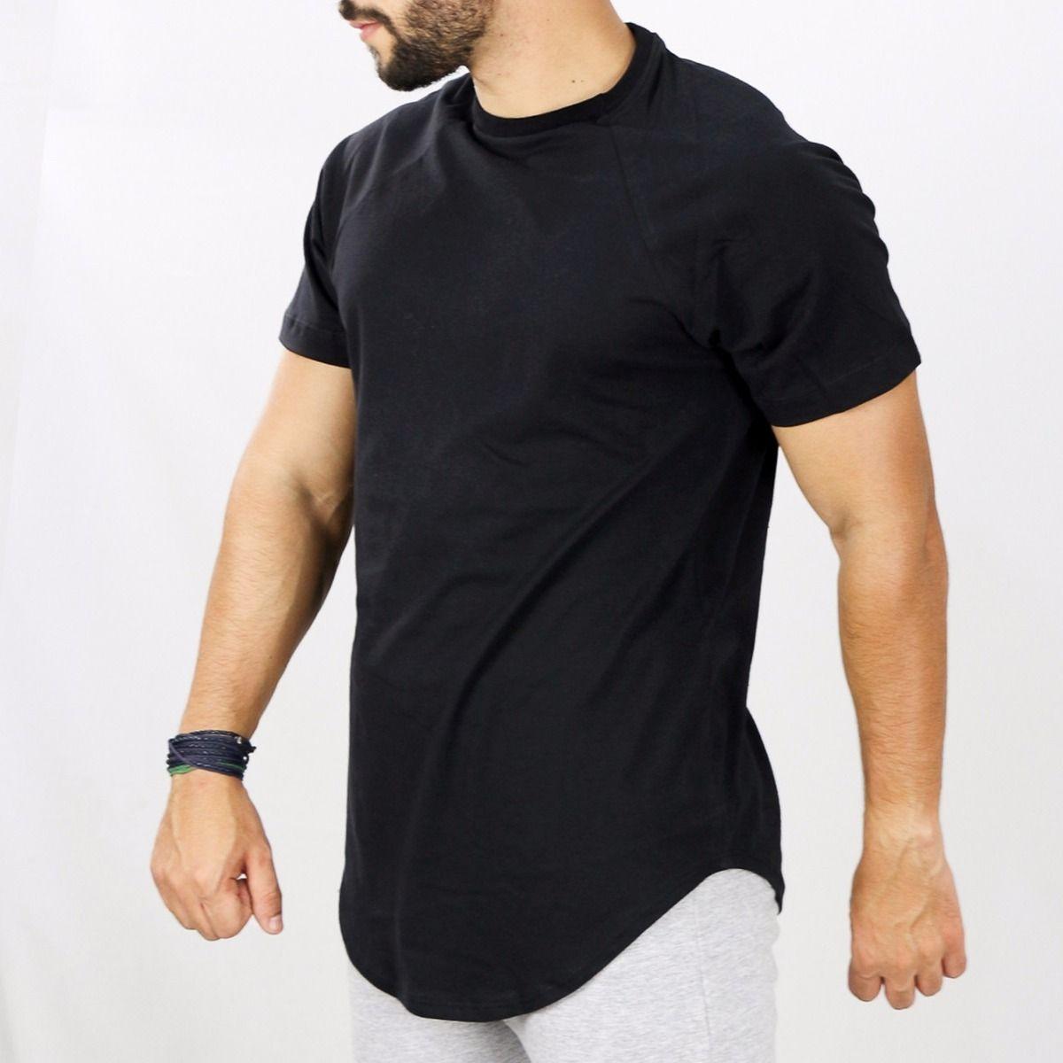 Camiseta Alongada Longline Lisa Oversized Básica