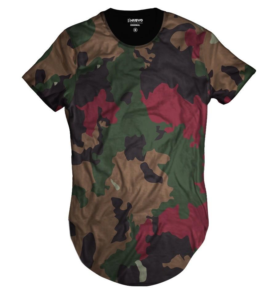 Camiseta Longline Personalizada Camuflada Exército