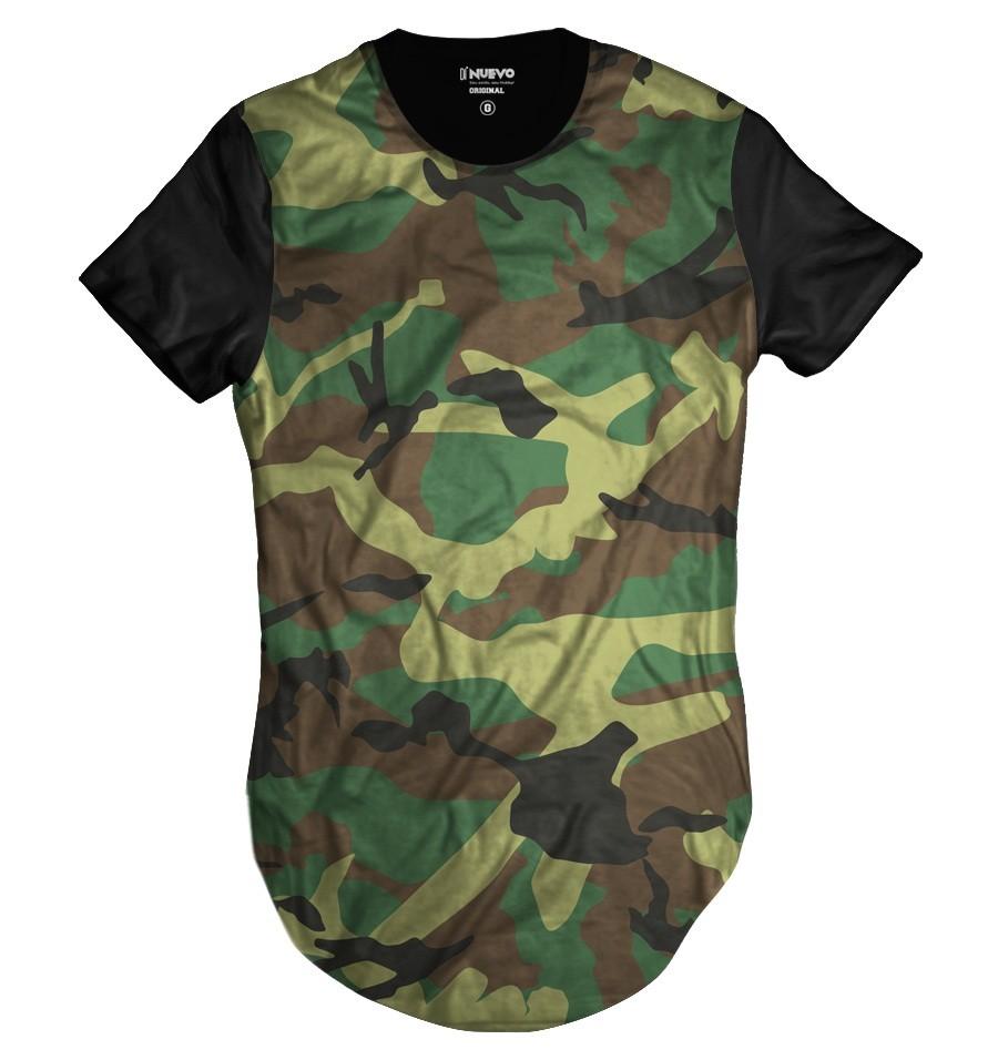 Camiseta Longline Swag Camuflada Exército Verde