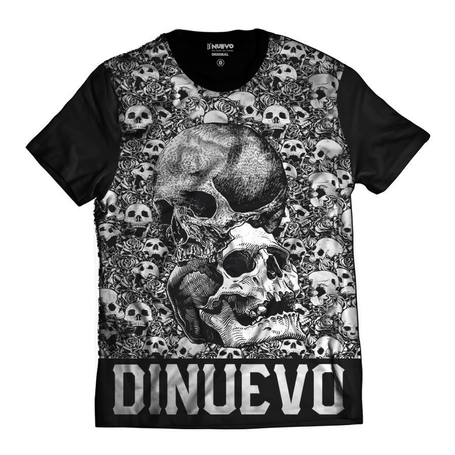 Camiseta Rock Skull Caveiras Miniaturas Di Nuevo