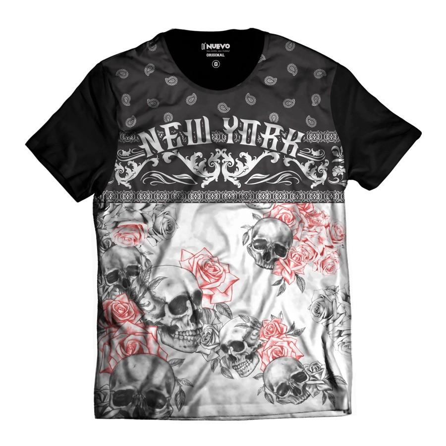 Camiseta Caveira Floral New York Colorida