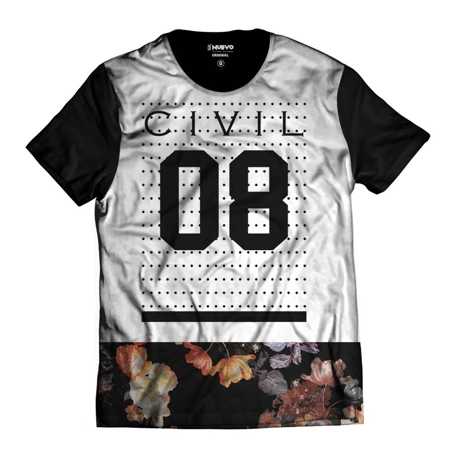 Camiseta Street Wear Civil 08 Branca Floral Thug Life