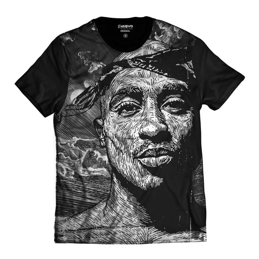 Camiseta Tupac Shakur Estilo Desenho 2pac Rap