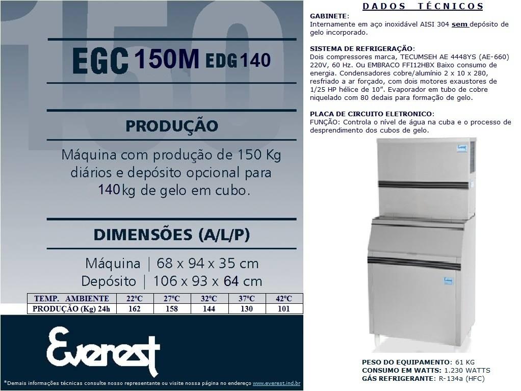 Máquina de gelo em cubo - EGC 150MA/140