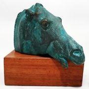 Escultura Cavalo Paternon patina verde