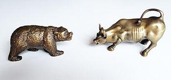Touro e Urso de wall Street Bronze Maciço