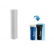 Refil para Filtro de Água Compatível com Acqualimp Elemento filtrante Cartucho polipropileno liso 9.1/4 x 2.1/2 Compatível Acqualimp Preto e Azul