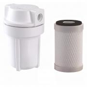 Filtro de Água com Carvão Ativado - Purificador de Água - Com Suporte - Mangueira - Conectores - Carvão Ativado / Carbon Block - Embutir Baixo Pia - Branco