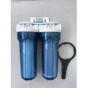 Filtro de água Duplo para fabricação de cerveja artesanal - Transparente - Retira Cloro