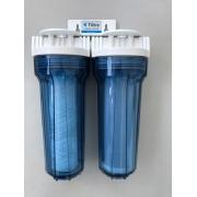 Filtro Duplo para fabricação de cachaça artesanal - Transparente - 2 Estágios Bobinados + Elementos Filtrantes Extras