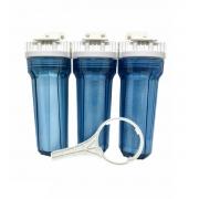Kit Filtro Triplo para filtragem de água para fabricação de cerveja artesanal - Transparente - 10
