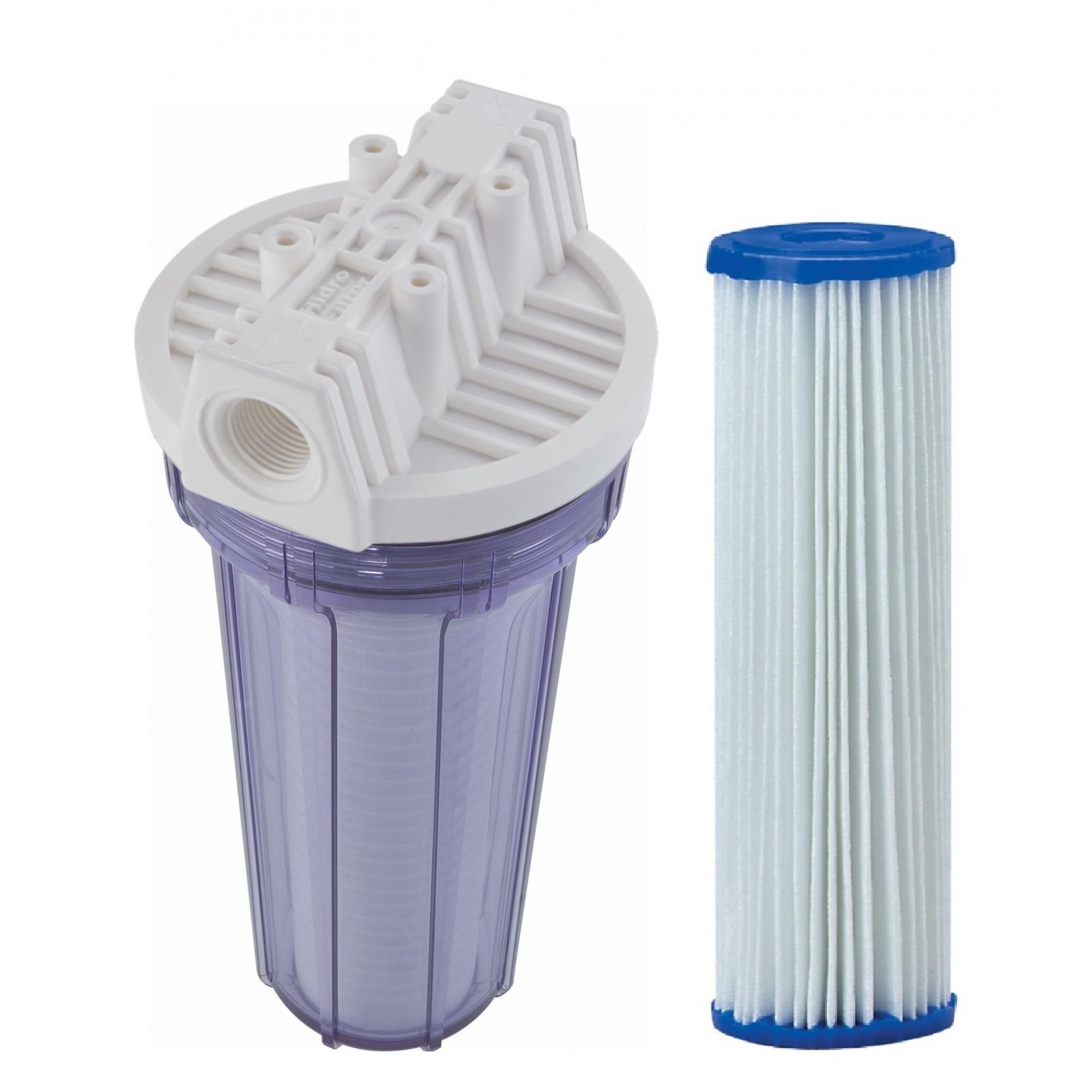 Filtro de água Entrada - POE 10 x 2.1/2 Transparente Plissado Lavável
