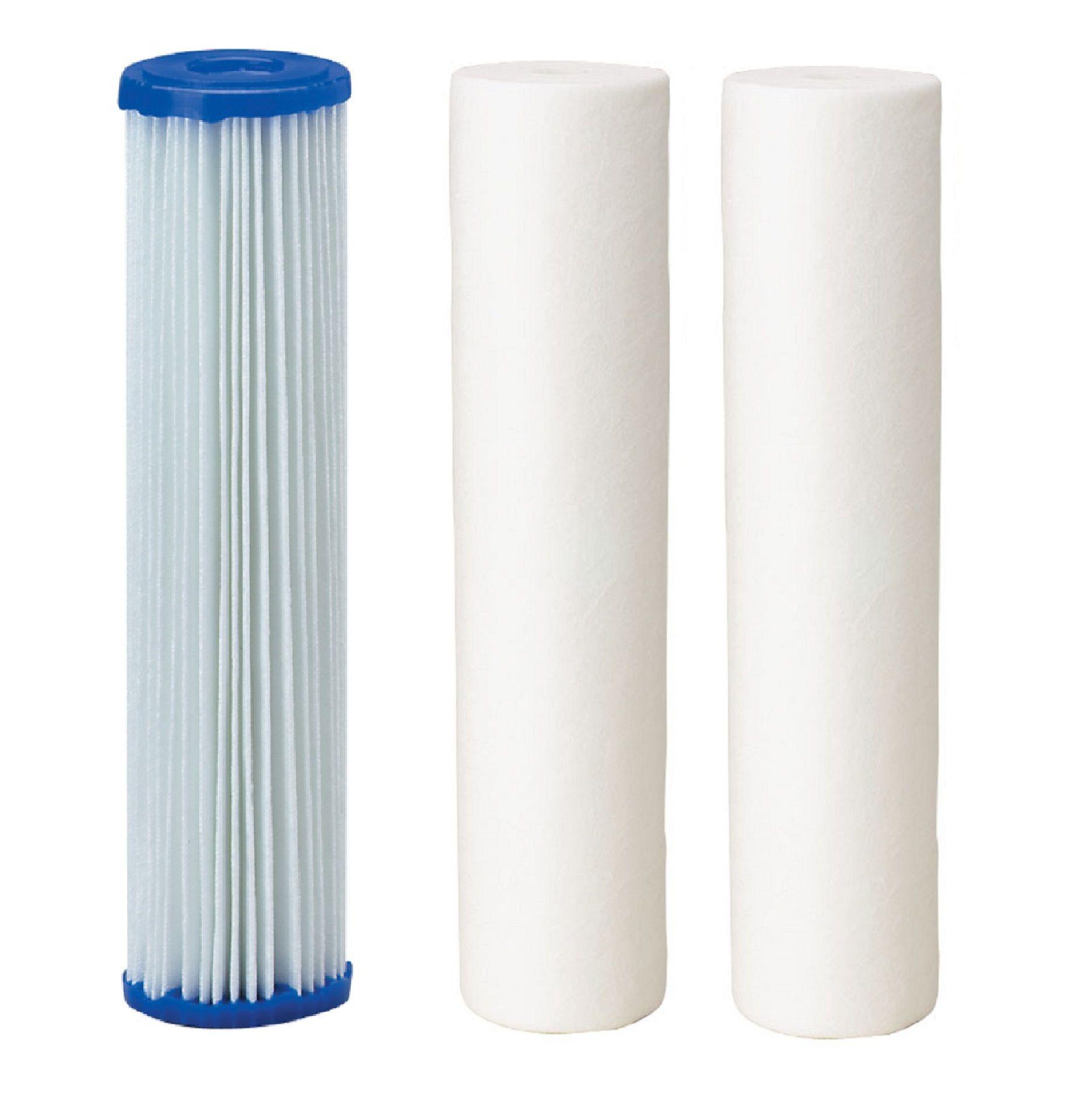 Kit Refis para Filtro Triplo de Entrada - 1 Elemento Filtrante Polipropileno Plissado 10 x 2.1/2 + 2 Elemento Filtrante Polipropileno Liso 10 x 2.1/2