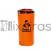 Coletor para pilhas e baterias aro inox 22 litros