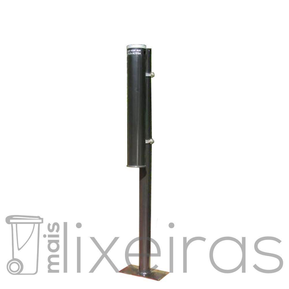Bituqueira de chão com poste - Preta ou  Branca Modelo Cigarro