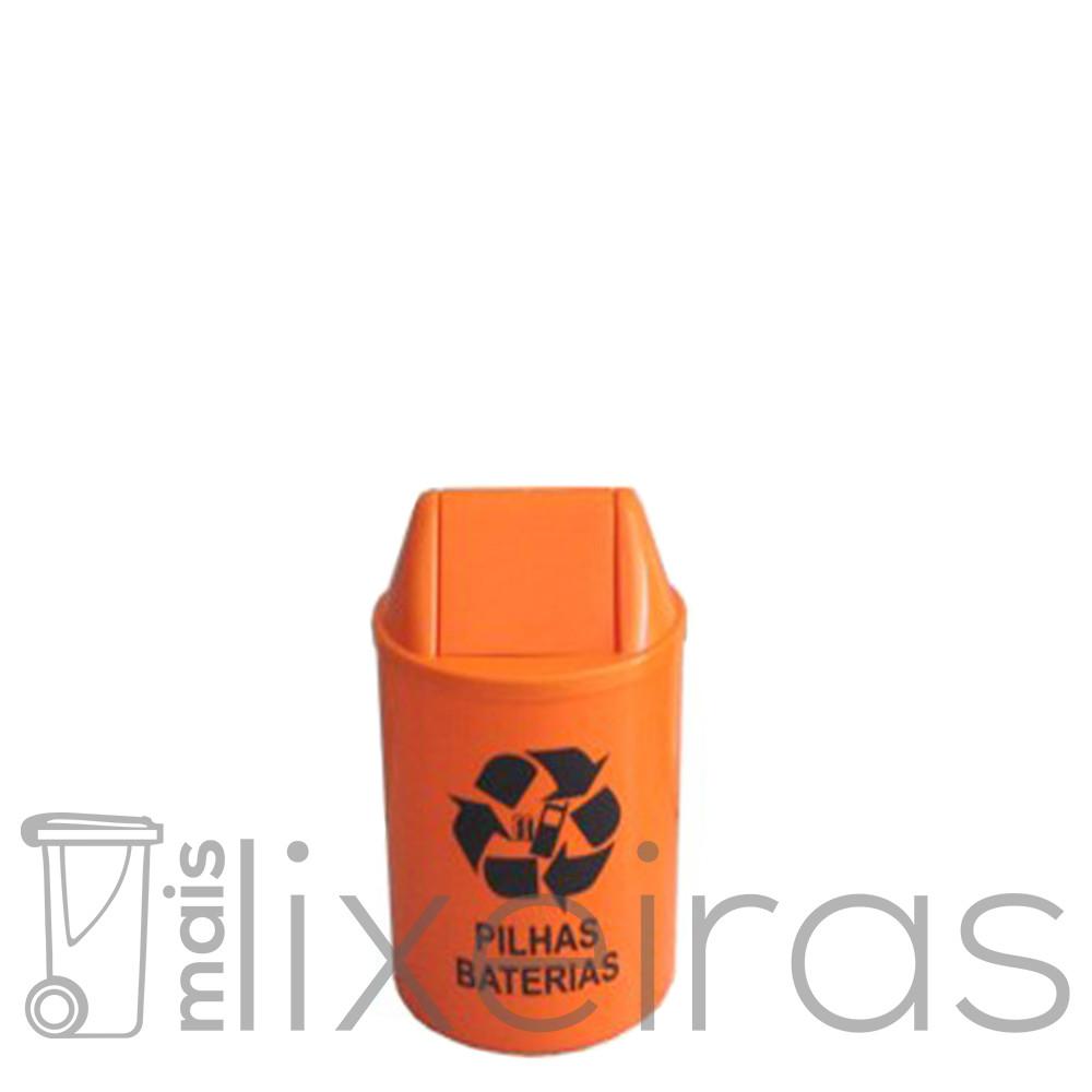 Coletor de pilhas e baterias com tampa vai e vem - 14 litros