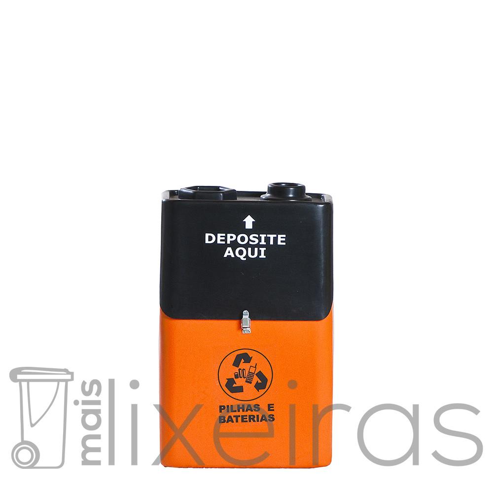 Coletor grande para pilhas e baterias em formato de bateria 9 volts - 50 litros