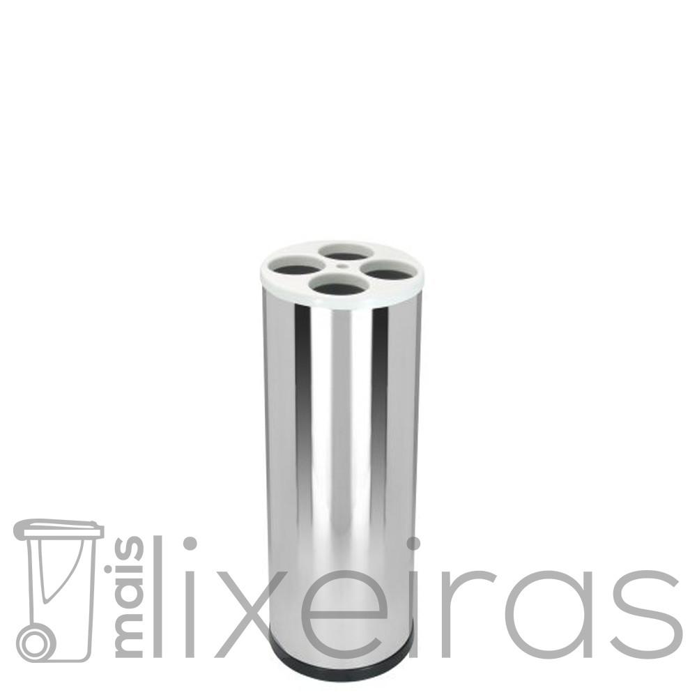 Coletor médio para copos descartáveis em aço inox com tampa plástica