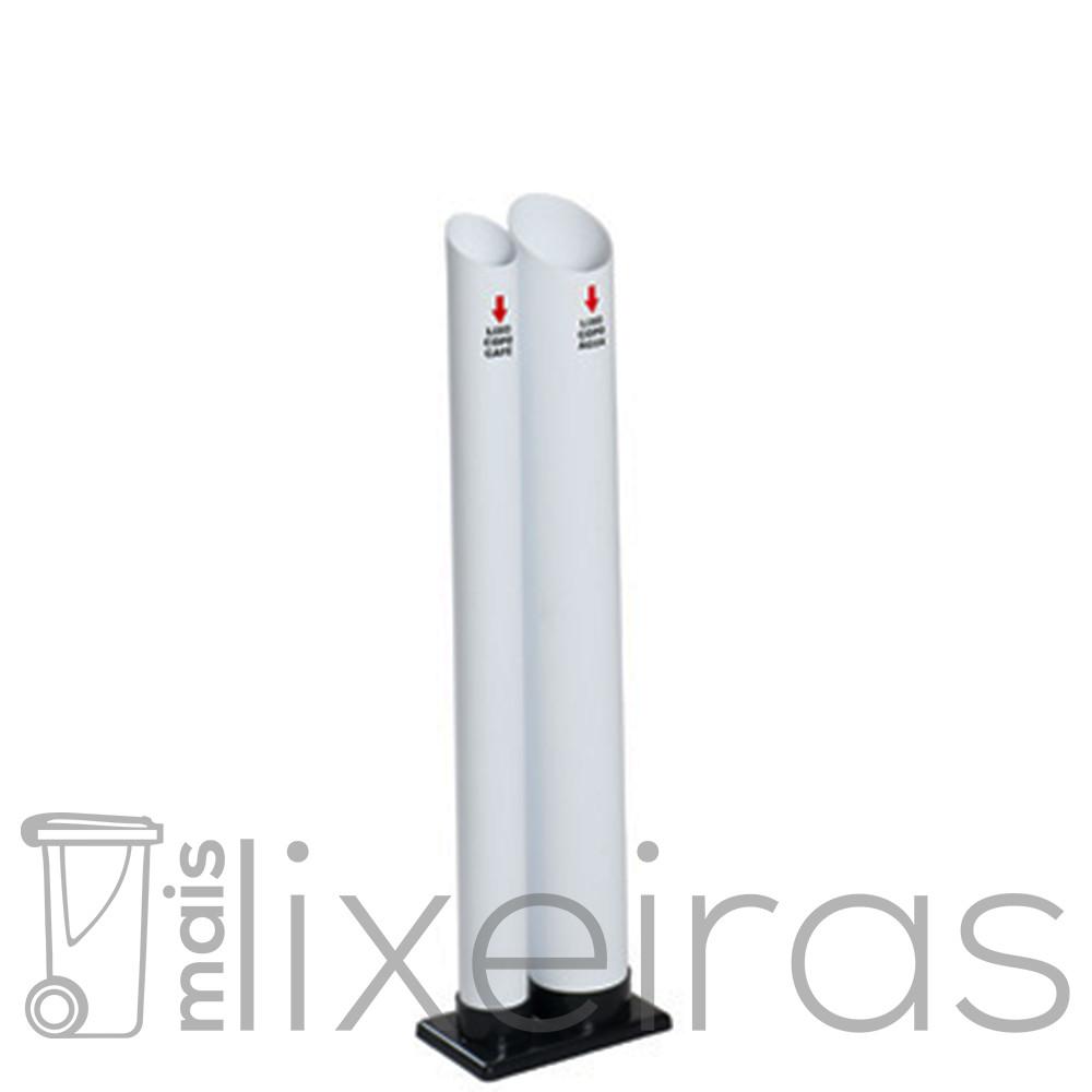 Coletor para copos descartáveis com 2 tubos (água ou café)
