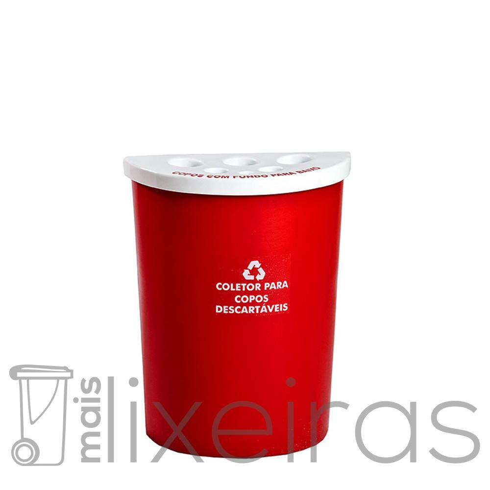 Coletor para copos descartáveis e mexedores modelo meia lua