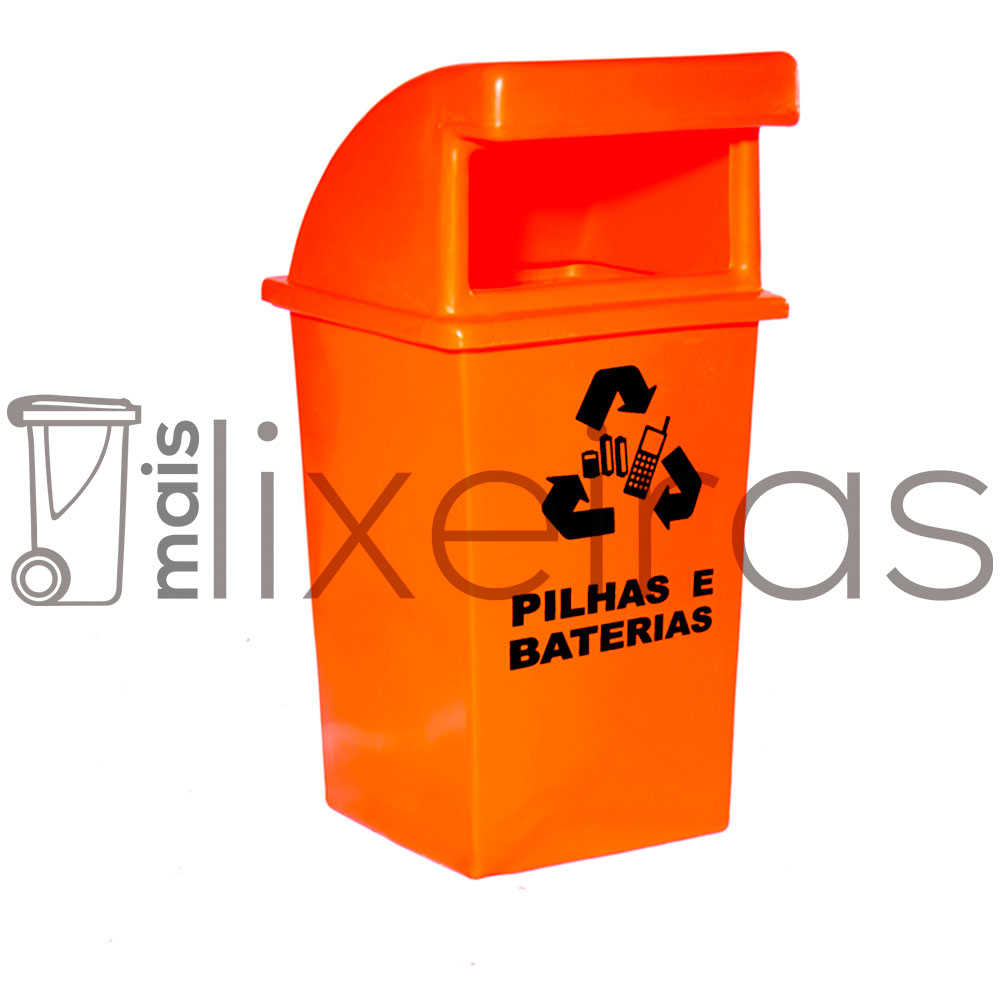 Coletor para pilhas e baterias abertura frontal - 60 litros