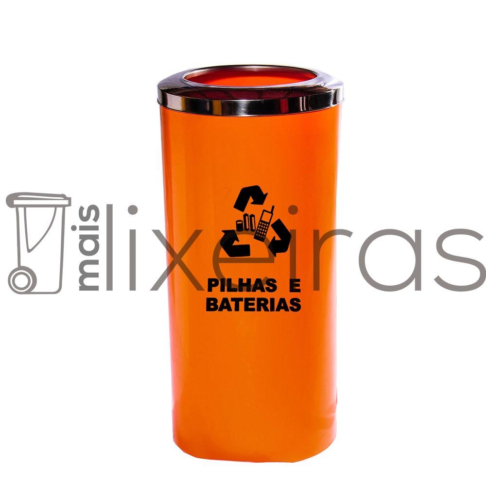 Coletor para pilhas e baterias aro inox 50 litros