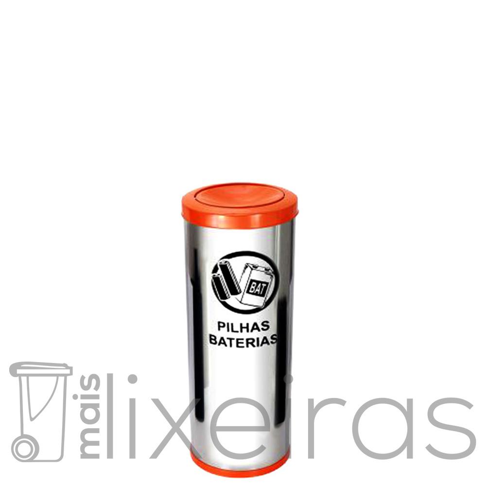 Coletor para pilhas e baterias em inox - 25 litros
