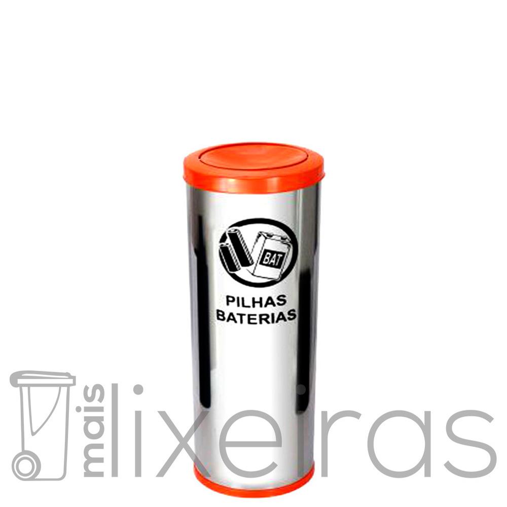 Coletor para pilhas e baterias em inox - 50 litros