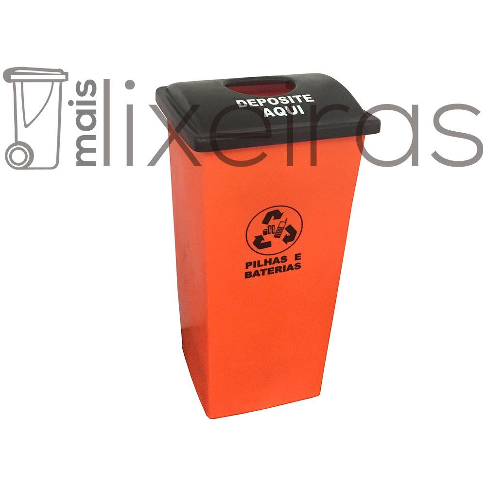 Coletor para pilhas e baterias tampa personalizada - 60 litros