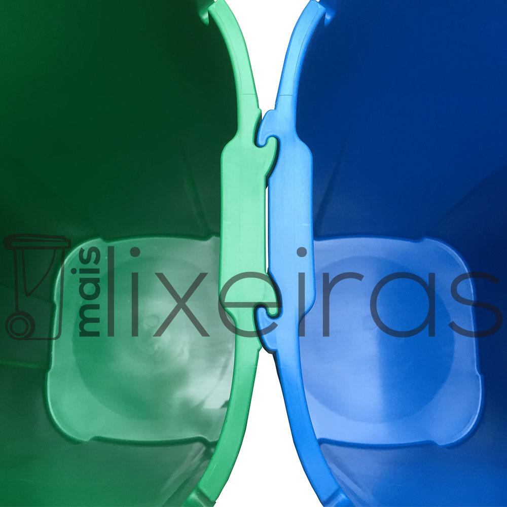 Conjunto 2 lixeiras tampa basculante multi encaixe 60 litros