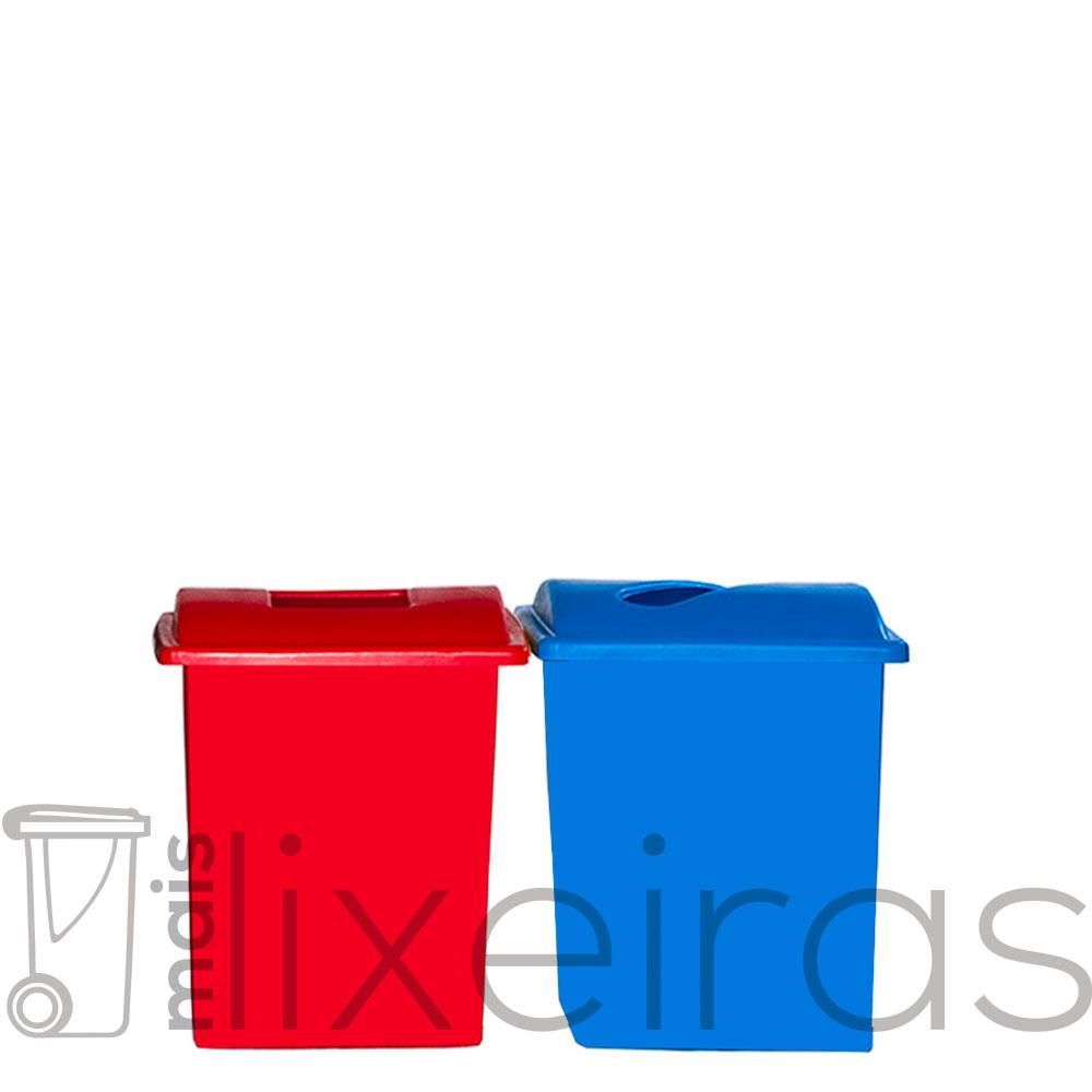 Conjunto com 02 lixeiras plásticas 40 litros cada - tampa com abertura central
