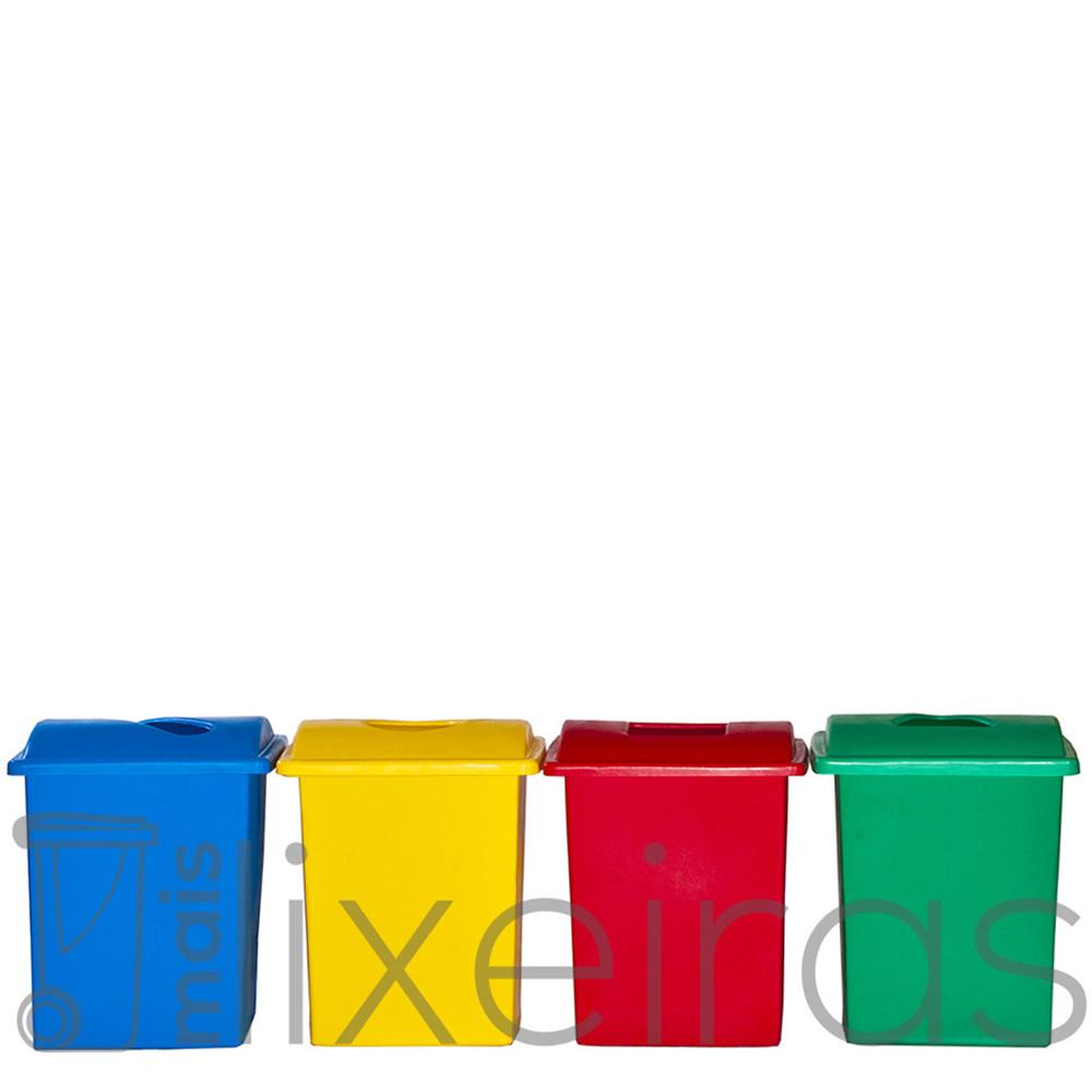 Conjunto com 04 lixeiras plásticas 40 litros cada - tampa com abertura central