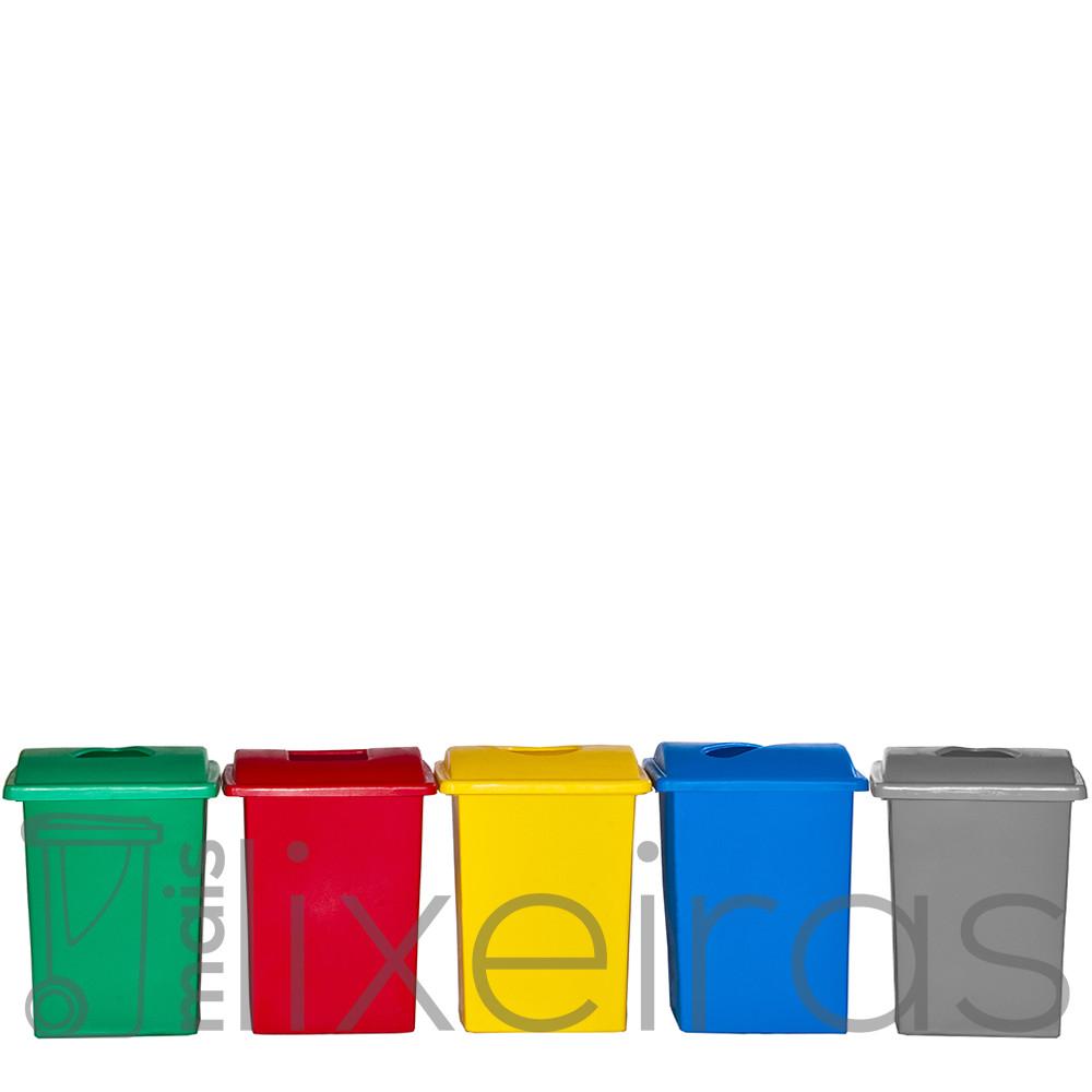 Conjunto com 05 lixeiras plásticas 40 litros cada - tampa com abertura central