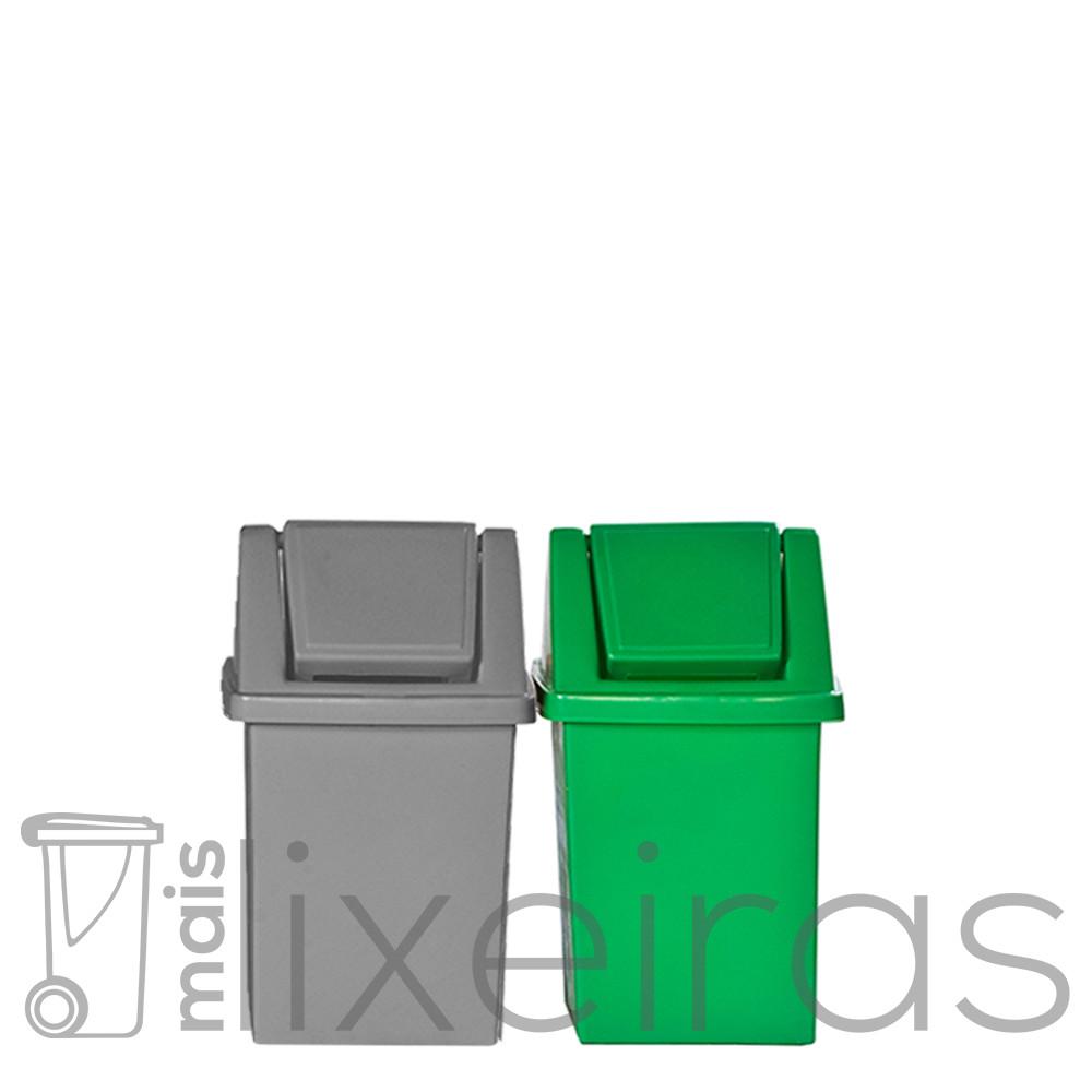 Conjunto para coleta seletiva - 02 lixeiras 40 litros cada
