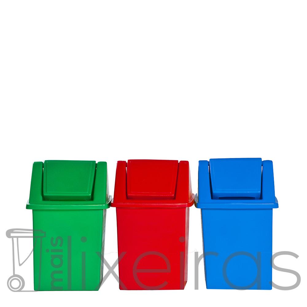 Conjunto para coleta seletiva - 03 lixeiras 40 litros cada