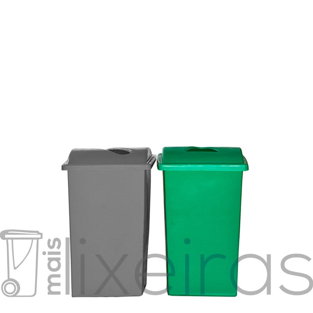 Kit com 02 lixeiras plásticas 60 litros cada - tampa com abertura central