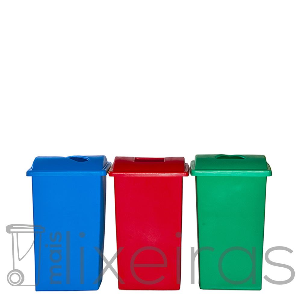 Kit com 03 lixeiras plásticas 60 litros cada - tampa com abertura central