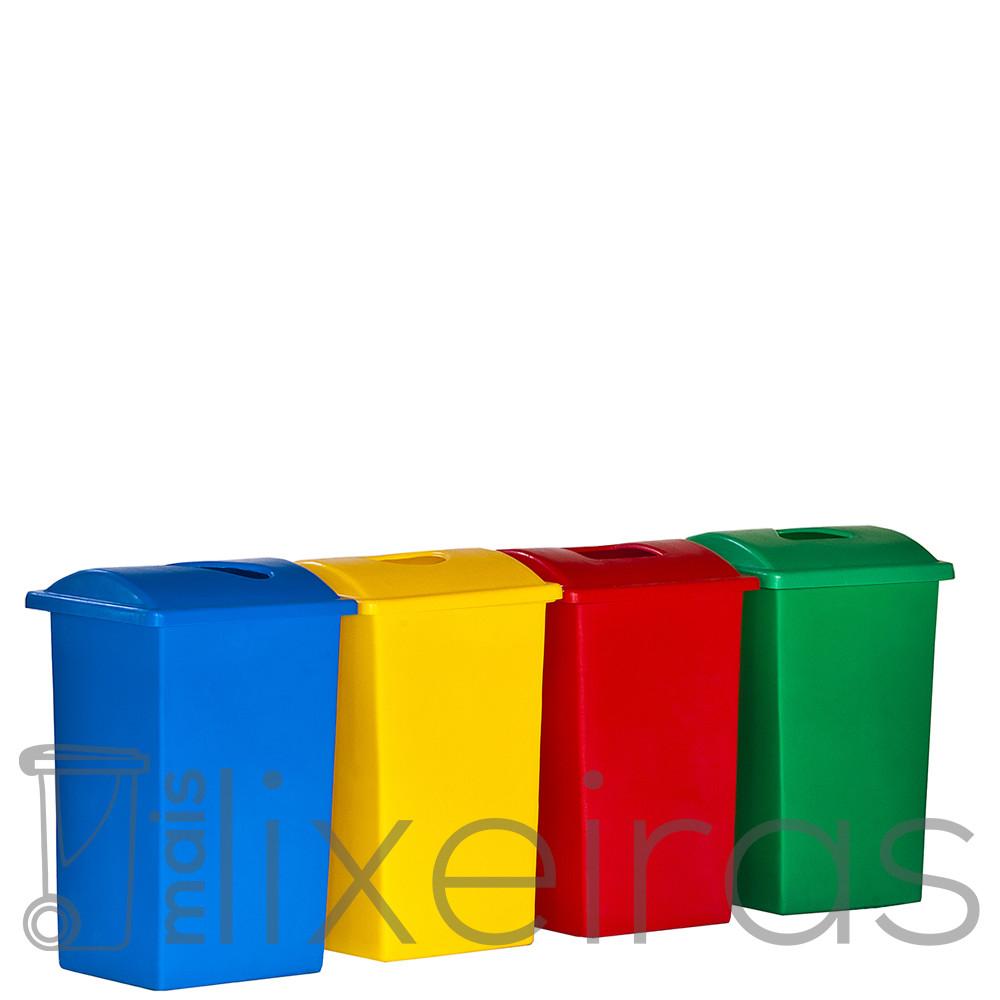 Kit com 04 lixeiras plásticas 60 litros cada - tampa com abertura central