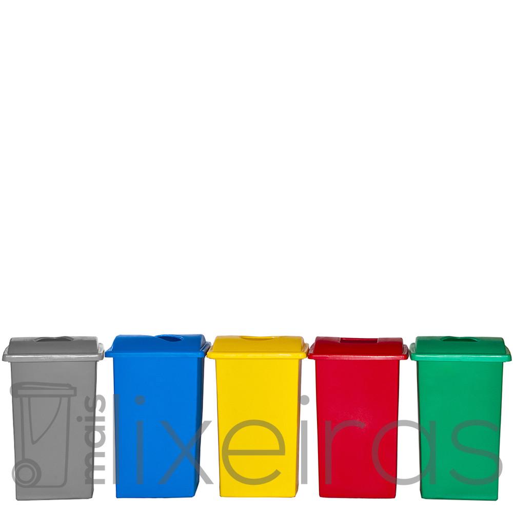 Kit com 05 lixeiras plásticas 60 litros cada - tampa com abertura central