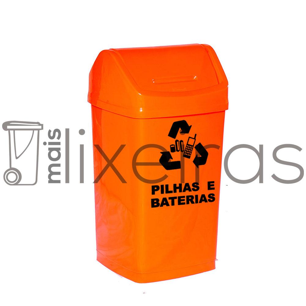 Lixeira com tampa basculante para pilhas e baterias - 50 litros
