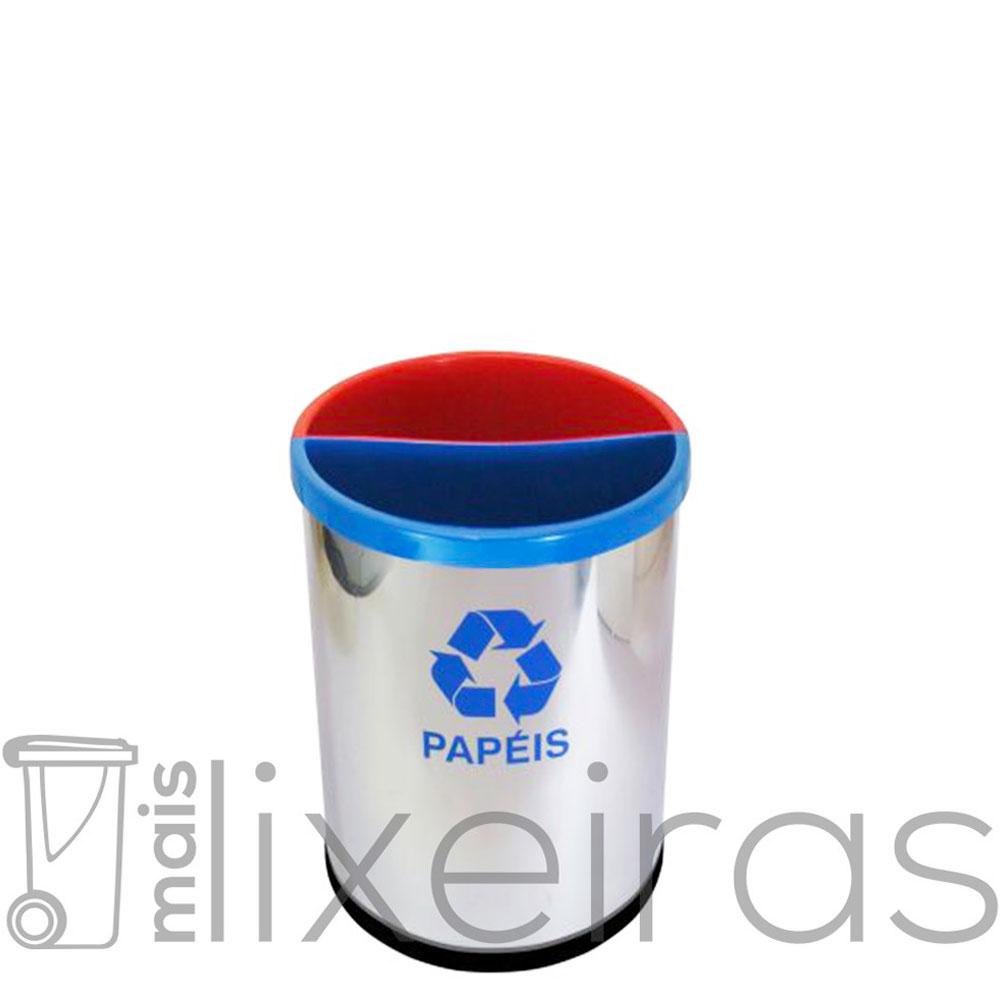 Lixeira Dupla Inox 2 em 1 - 30 litros